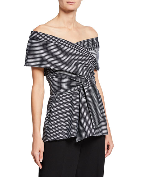 Lela Rose Off-the-Shoulder Wrap-Tie Printed Peplum Top