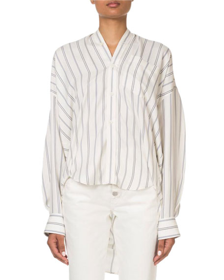 Striped Button-Front Tie-Back Swing Top