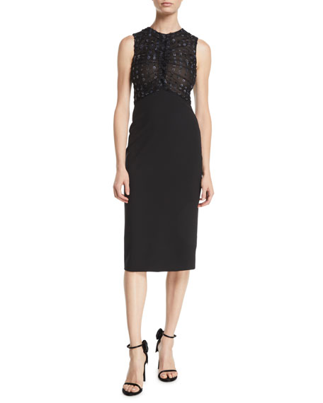 Image 1 of 1: Organza Dot-Embroidered Tulle Scuba Jersey Bodycon Dress