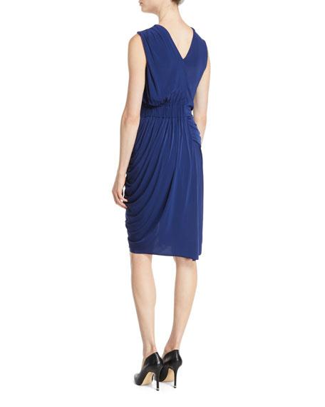 Sleeveless Ruched Fluid Evening Jersey Sheath Dress
