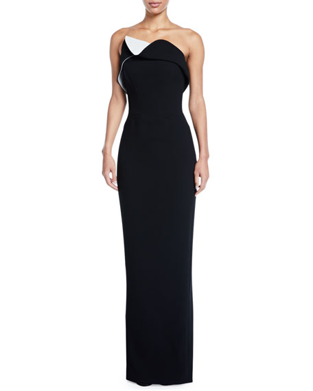 Strapless Two-Tone Fold-Over Column Gown