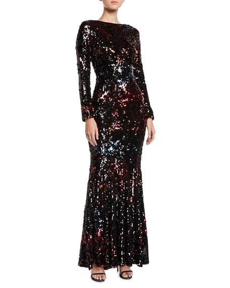 Long-Sleeve Sequin Trumpet Evening Gown