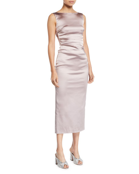 Sleeveless Boat-Neck Ruched Satin Body-con Midi Cocktail Dress