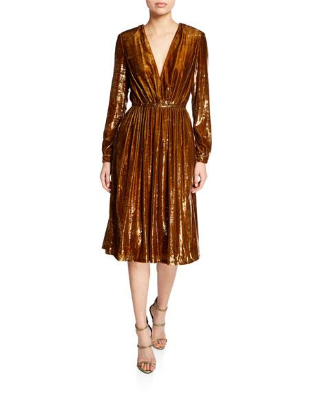 Liquid Velvet Long-Sleeve V-Neck Dress