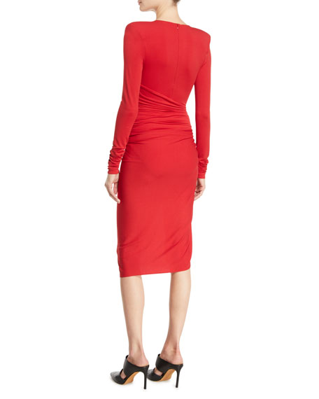 Plunging Long-Sleeve Ruched-Side Mini Dress