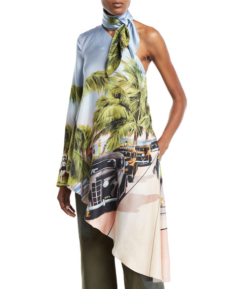 Monse One-Shoulder Miami Postcard Tunic Top