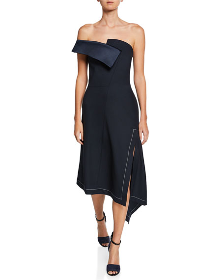 Off-The-Shoulder Twisted Slit-Front Asymmetric Dress