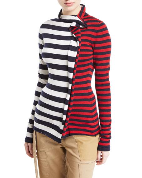 Monse Split-Stripe Turtleneck Sweater