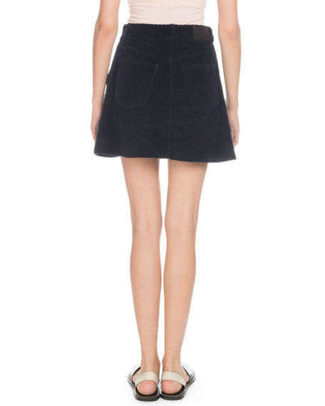 Button-Front Wide-Wale Corduroy A-Line Mini Skirt