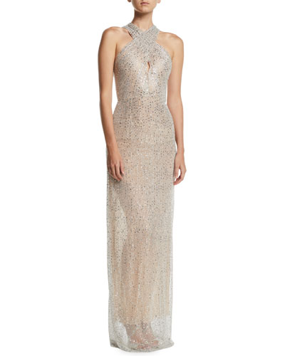 Halter-Neck Sleeveless Beaded-Embroidered Evening Gown