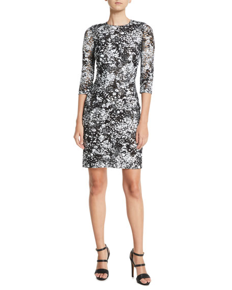 Linda High-Neck 3/4-Sleeve Fitted Lace Cocktail Dress