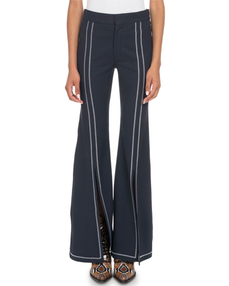 Topstitched Slit-Front Flared-Leg Stretch-Wool Pants