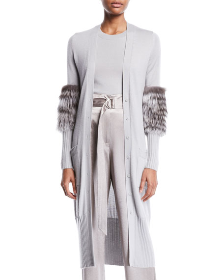Sally Lapointe FUR-SLEEVE BUTTON-FRONT LONG CASHMERE-SILK CARDIGAN