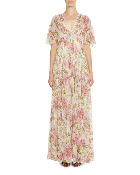 Image 1 of 1: Floral-Print Short-Sleeve Tiered Gown