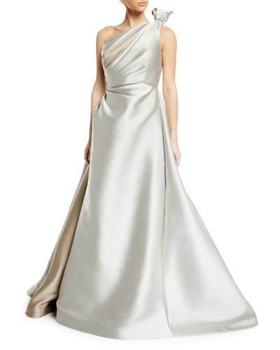 Tied One-Shoulder Satin Ball Gown