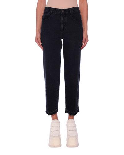 Mid-Rise Straight-Leg Washed Denim Crop Pants
