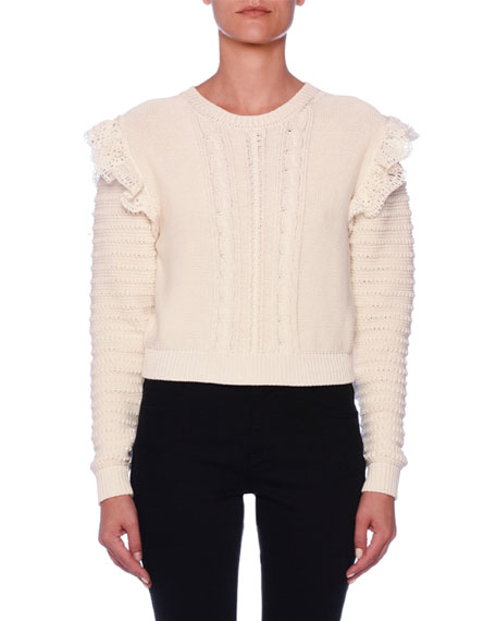 Crocheted-Ruffled Cotton Crop Sweater