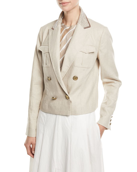 Brunello Cucinelli Paillette-Collar Double-Breasted Cropped