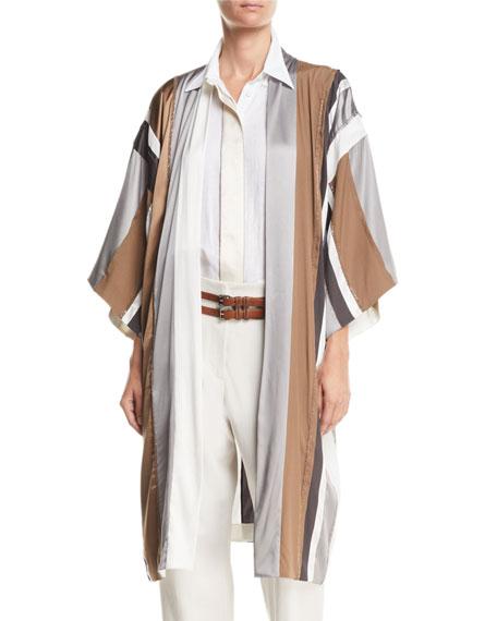 Brunello Cucinelli Monili-Beaded Belted Striped-Silk Kimono Cardigan