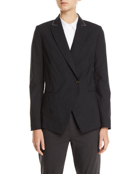 Brunello Cucinelli Monili-Beaded Tropical Wool Jacket