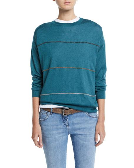 Brunello Cucinelli Multicolor Monili-Striped Cashmere-Silk Sweater