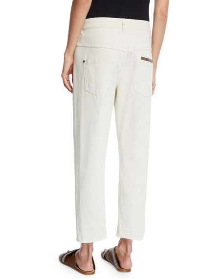 Crossover Straight-Leg Cropped Pants