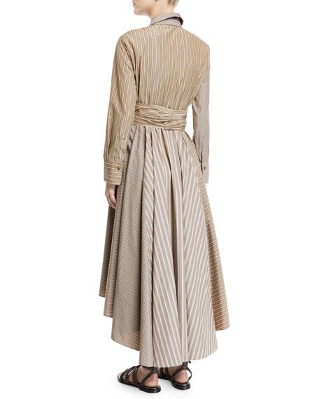 Belted Striped-Poplin Midi Shirtdress