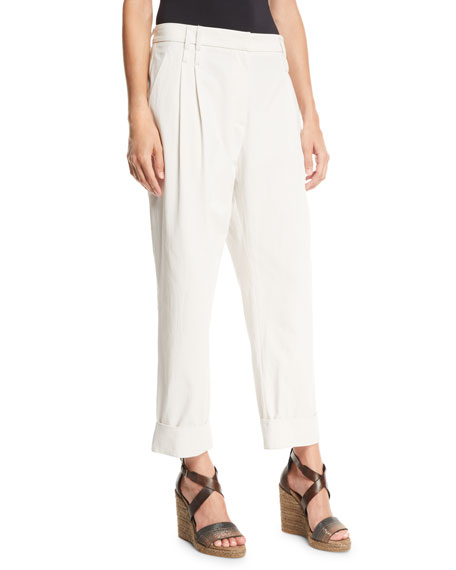 Brunello Cucinelli Cotton-Crepe Cuffed Slouch Pants