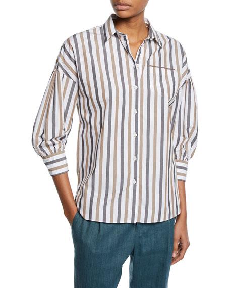 3/4-Sleeve Striped Poplin Blouse