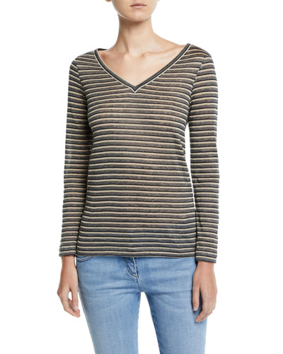 Long-Sleeve Shimmer-Striped V-Neck Top