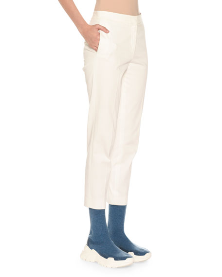 Mid-Rise Stretch Cotton Slim-Leg Pants