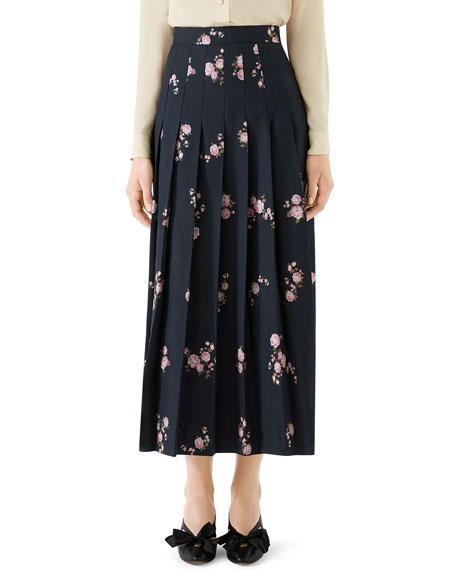 Camelia Bouquet Fil Coupe Pleated Maxi Skirt