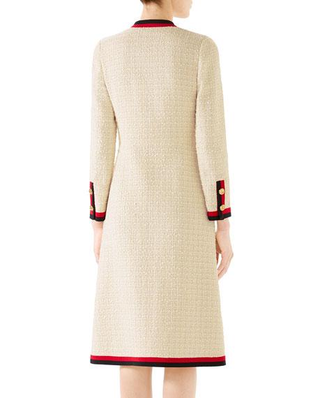 Ribbon-Trim Button Front Gauze Tweed Dress