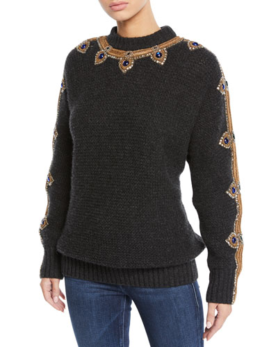 Cashmere Jewel-Embroidered Sweater