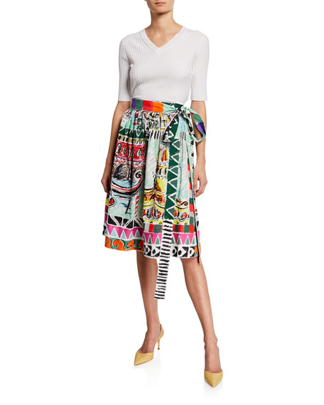 Venice Printed Cotton Midi Skirt