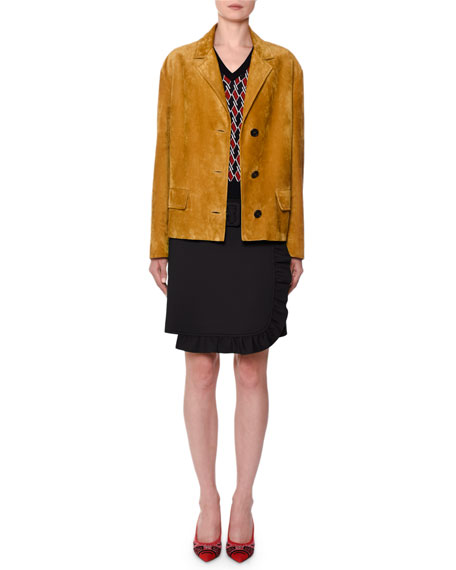 Button-Front Suede Jacket
