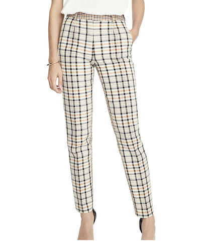 Mid-Rise Checkered Skinny Trouser Pants