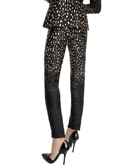 Gold-Moon Print Skinny-Leg Pants