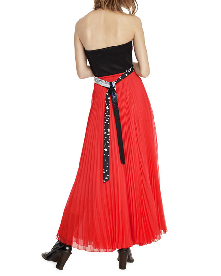 Strapless Red Lip Bodice & Pleated Dress