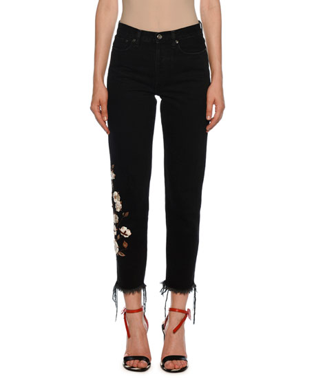 Mid-Rise Floral-Embroidered Crop Jeans