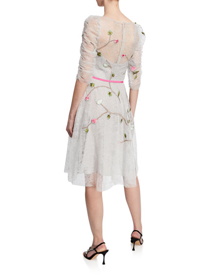Embroidered Chantilly Lace Cocktail Dress