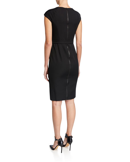 Draped-Neck Zip-Back Sheath Dress