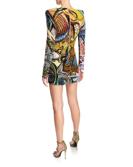 Beaded Long-Sleeve Mini Dress