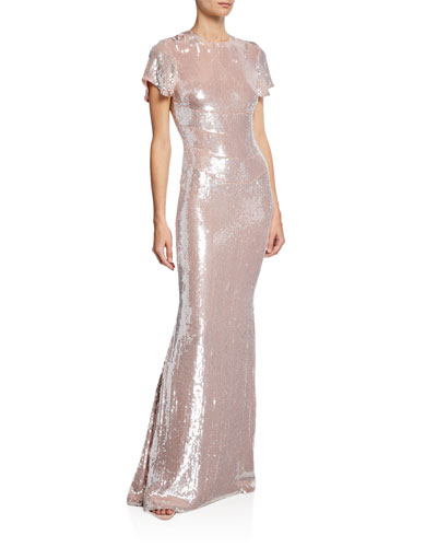 Sequined Crinkle Georgette Gown