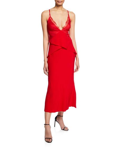 Satin Lace-Trim Peplum Dress