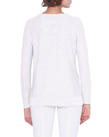 Sequined Long-Sleeve Crewneck Loose-Hem Shirt