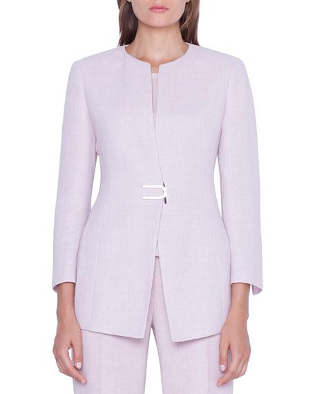 Ana Linen-Wool Long Magnet-Front Blazer