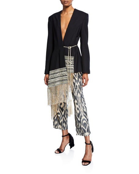 Ikat-Patterned Cropped Pants