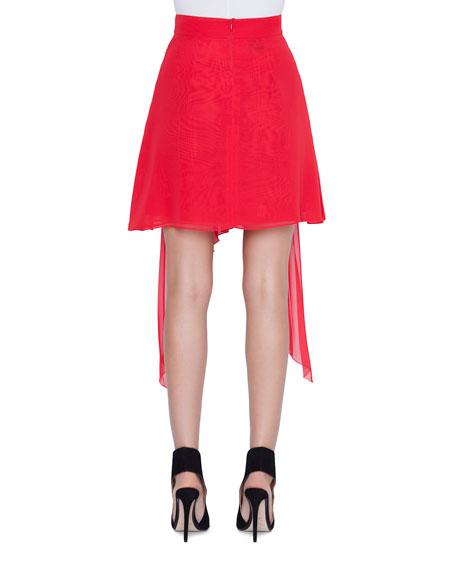 Plisse-Chiffon Handkerchief-Front Skirt