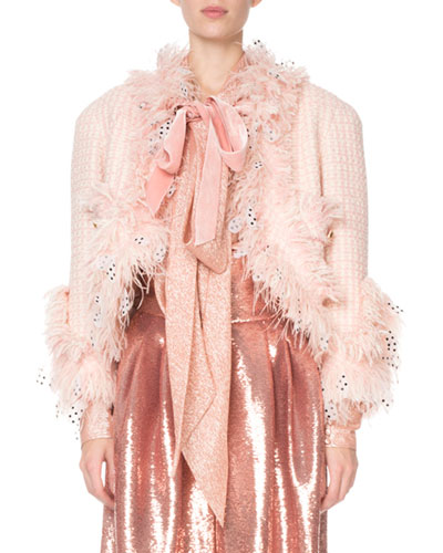 Dot-Painted Feather-Trim Boucle Jacket